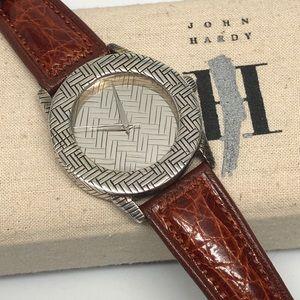 Handmade Sterling Silver Watch Crocodile Band